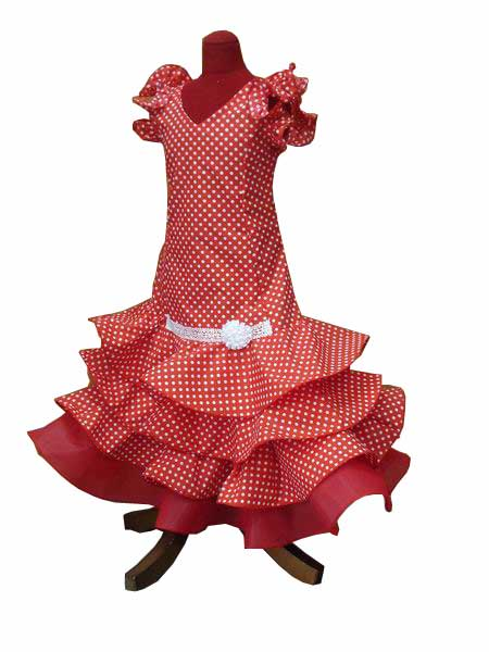 Flamenca Outfit for Girl. Sevilla Model in Red