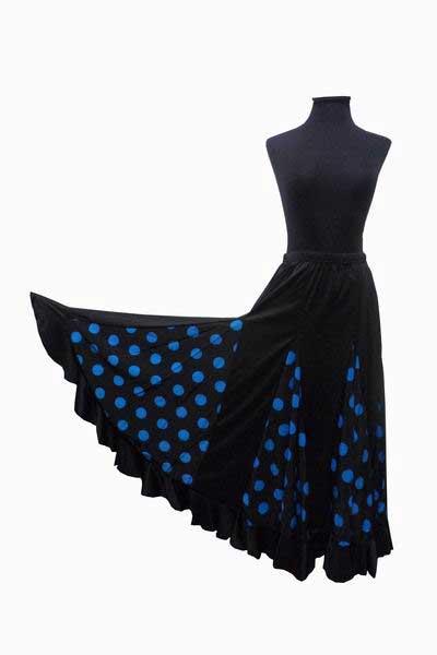 Black with Turquoise Polka Dots Flamenco Skirt