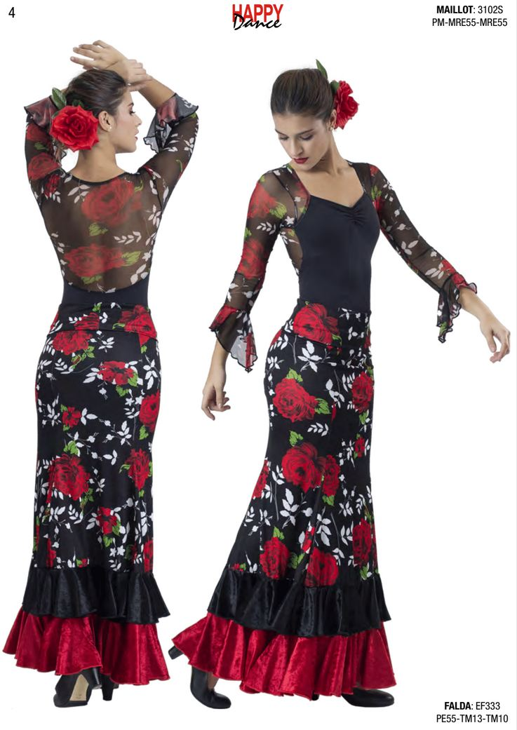 Happy Dance. Jupe Flamenca pour Femme, pour Entrainements ou Représentation. Ref. EF333PE55TM13TM10