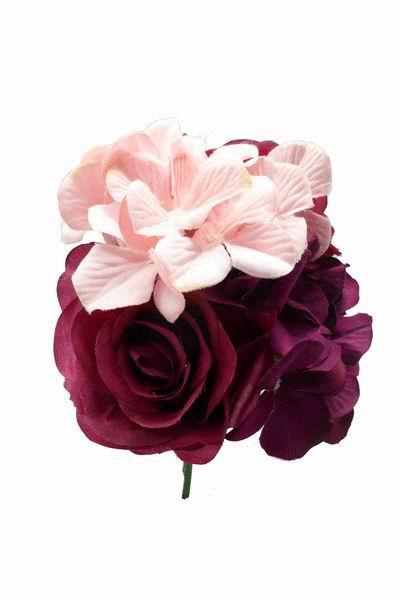 Ramos Grandes de Flores para Adornar el Pelo en Tonos Buganvilla y Rosa