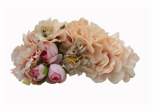 Headdress with Big Flowers. In Beige