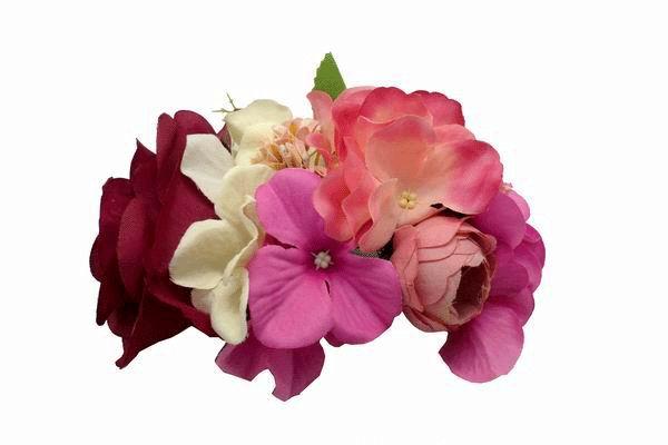 Tocado de Flores Flamencas Pequeño en Tonos Buganvilla Rosas y Beig