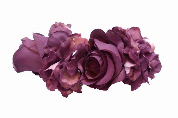 Aubergine Roses and Other Flowers  Headdress. 22cm