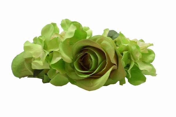 Pistachio Green Roses and Other Flowers  Headdress. 22cm