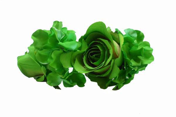 Andaluz Green Roses and Other Flowers Headdress. 22cm