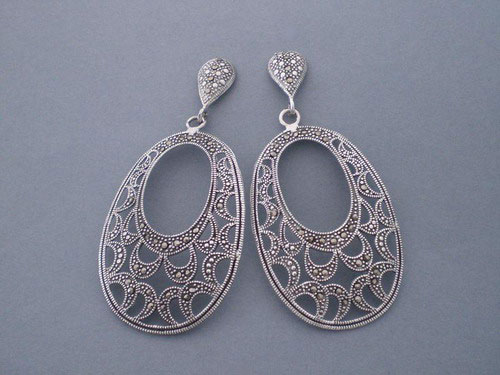 Silver And Marcasite Drop Earrings