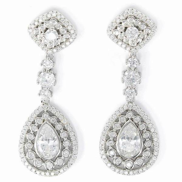 Long Silver Earrings with Zircons, Diamond Shaped in the Header and Teardrop Shaped in the Center