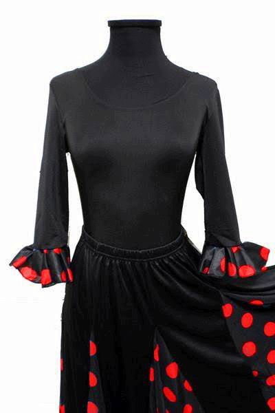 Economical Long-Sleeved Black Leotard with Red Polka Dots Ruffle for Adults