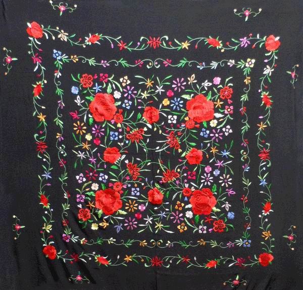 Handmade Embroidered Shawl of Natural Silk. Ref. 1010612NGCL
