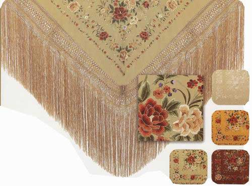 Handmade Embroidered Shawl of Natural Silk. Ref.1010993