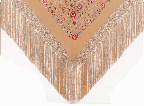 Handmade Embroidered Shawl of Natural Silk. Ref.1011130