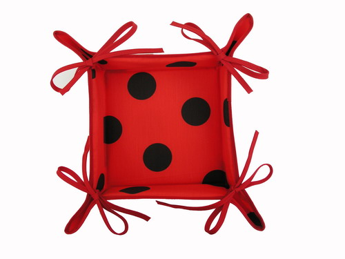 Red Breadbasket with Black Polka Dots
