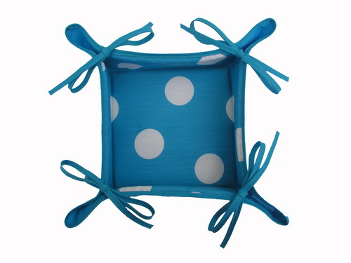 Turquoise Breadbasket with White Polka Dots