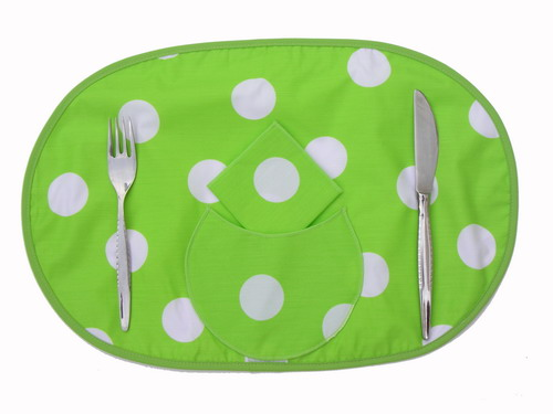 Individual Tablecloth - Pistachio with Polka Dots