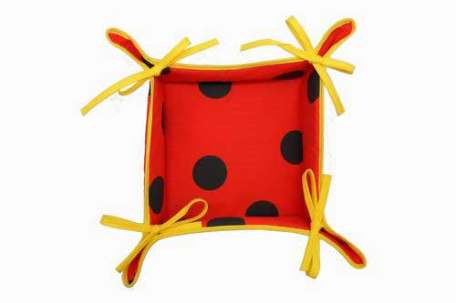 Red Bread Basket with black polka dots