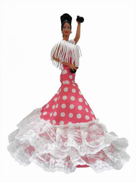 Flamenco Gipsy Doll with White Polka Dots Pink Dress. 20cm