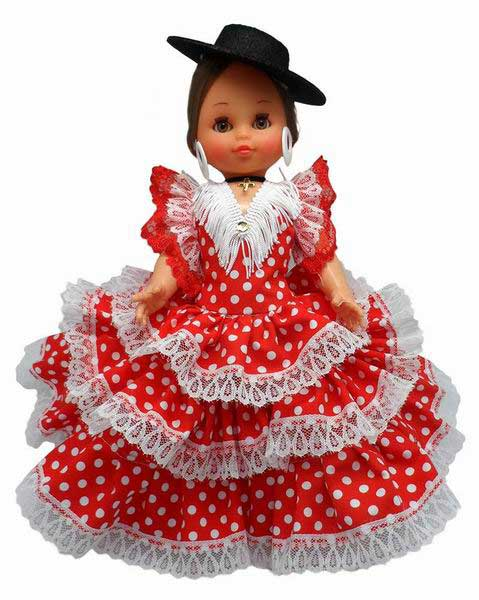 Spanish Flamenco Dolls Red Dress White Dot Black Cordovan Hat. 35cm