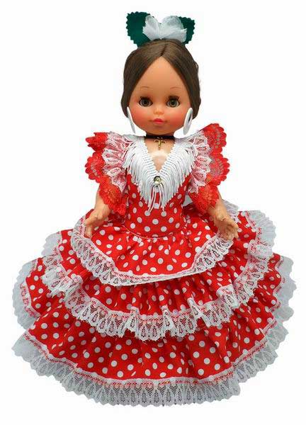 Spanish Flamenco Dolls Red Dress White Dots. 35cm.