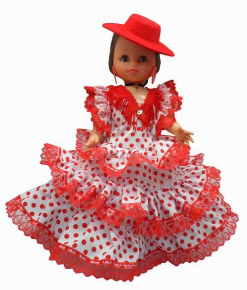 Spanish Flamenco Dolls White Dress Red Dots Red Cordovan Hat. 35cm.