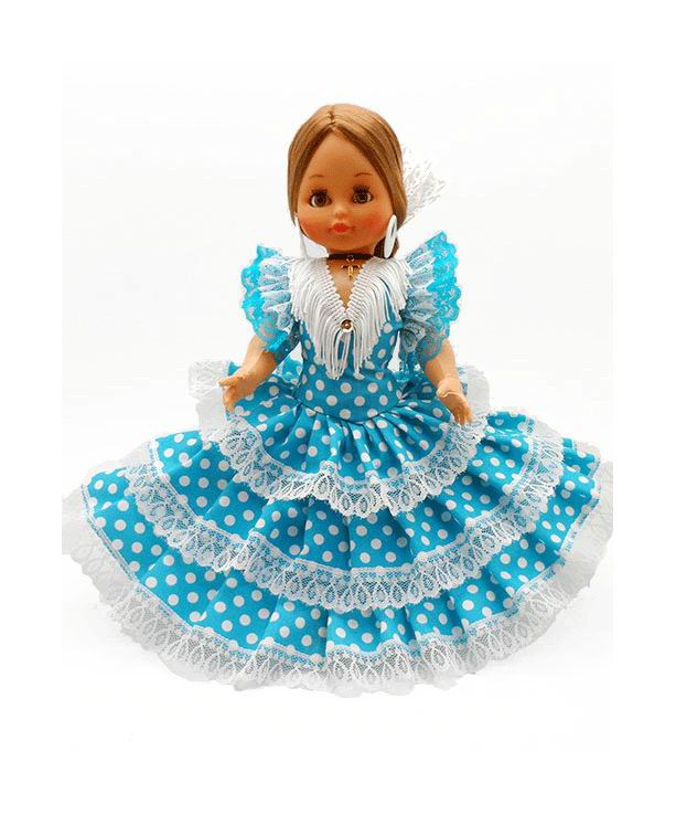Flamenca Doll Souvenir with Comb and Turquoise dress with white polka dots. 35cm