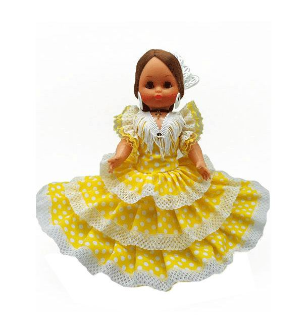 Flamenca Doll Souvenir with Comb and Yellow dress with white polka dots. 35cm