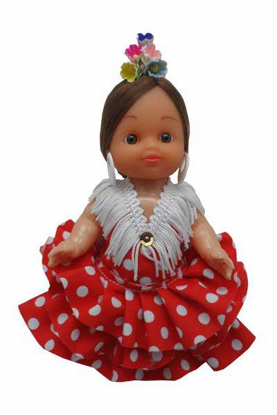 Flamenca Doll Dress with White Dots and Flowers in the Head. 15cm