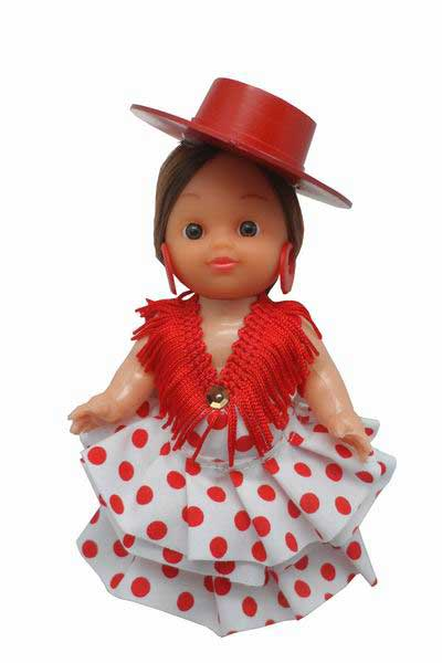 Flamenca Doll Dress with Red Dots and Red Hat. 15cm