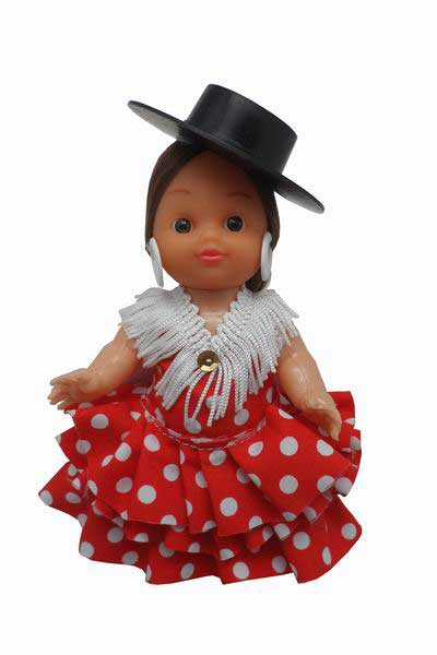 Flamenca Doll Dress with White Dots and Black Hat. 15cm