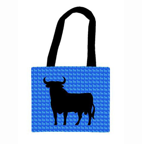 Bag in fabric of the Osborne Bull. Blue small