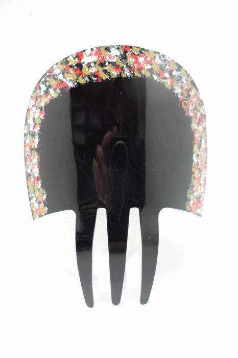Peigne Noir en Acetate avec de Petites Fleurs peintes à la Main