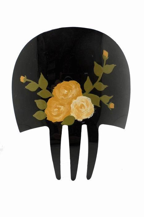 Peinetas de Acetato Color Negro Pintadas a Mano