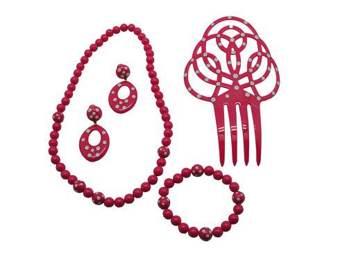 Kit d'accessoires flamenco pour fillettes. Fuchsia