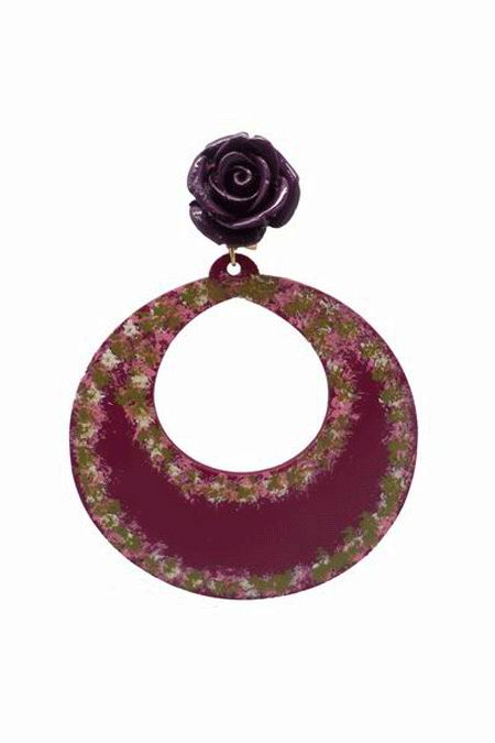 Handpainted Bougainvillea Hoop Acetate Earrings