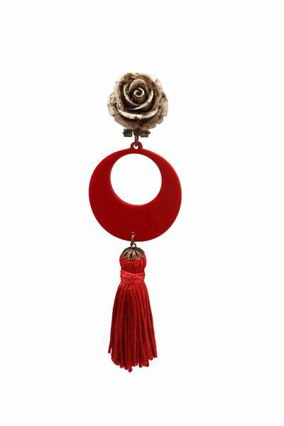 Earrings with a Red Fringe and Beige Flowers