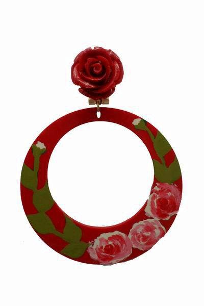 Hand painted Acetate Red Hoop Earrings