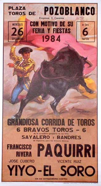Bull-fighting Poster. Mitos. Paquirri