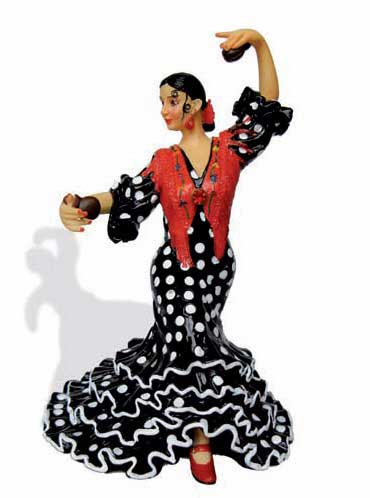 Flamenca with polka dots costume. Barcino. Black. 20.5cm