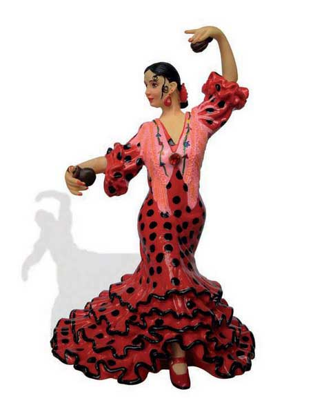 Flamenca with polka dots costume. Barcino. Red. 20.5cm