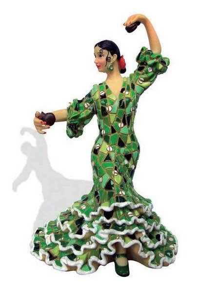 Flamenca with mosaic costume. Barcino. Green. 20.5 cm