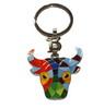 Porte-clés taureau avec tête multicolore et mosaïque