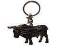 Key ring with black mosaic bull