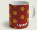 Red mug with mustard colour (albero) polka dots