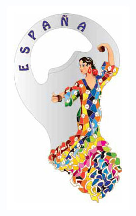 Bottle opener magnet flamenco dancer Gaudi dress