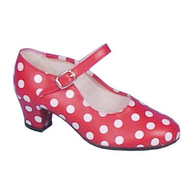 Chaussures rouges à pois blancs